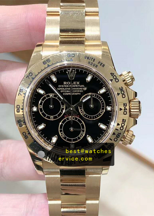 Rose Gold Black Dail Fake Rolex Daytona 116508 Watch