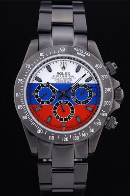 Rolex Oyster Perpetual rl335 Ion-plated stainless steel White Blue And Red Plate Special Edition