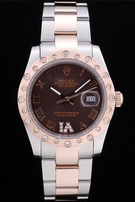Rolex rl327 Brown dial diamond bezel