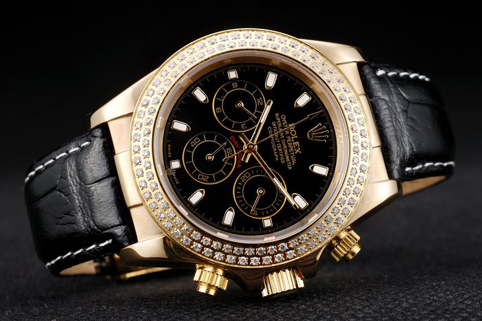 Fake Rolex Daytona Gold Plate Black Strap For Sale 4840