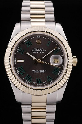 Rolex DateJust Silver Gold Band gray dial 4674