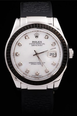 Rolex Datejust 4672 Black First Layer of Black leather strap