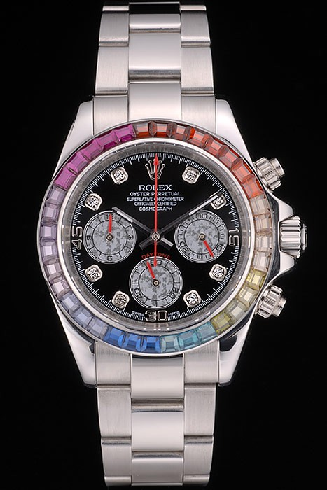 Best Swiss Replica Rolex Daytona Cosmograph Rainbow Crystals Bezel Stainless Steep Strap Black Dial 80250