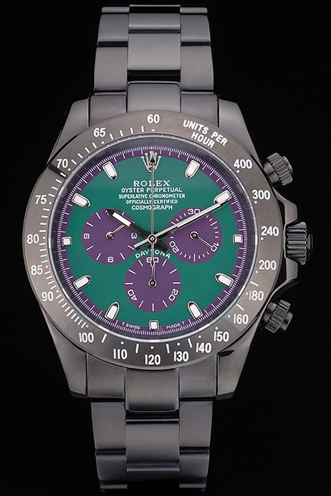 Best Swiss Rolex Daytona Black Ion Plated Tachymeter Black Stainless Steel Strap Green Dial 80246