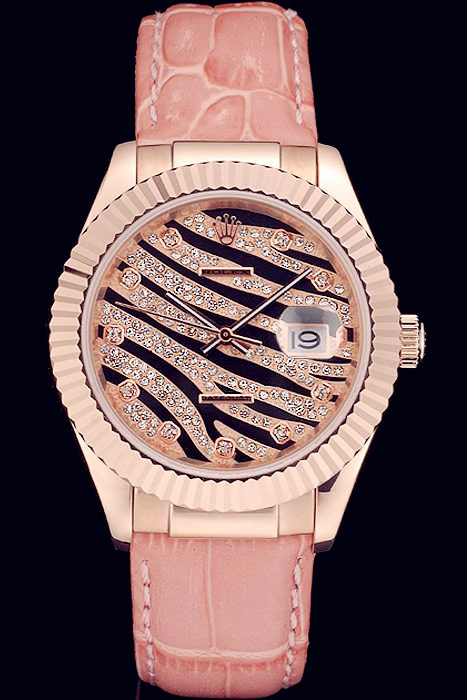 Best Swiss Rolex Datejust Special Edition 2012 Pale Pink Leather Strap 80253