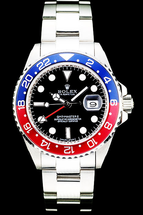Best Swiss Replica Rolex GMT Master II Blue-red Ceramic Bezel Black Dial Tachymeter