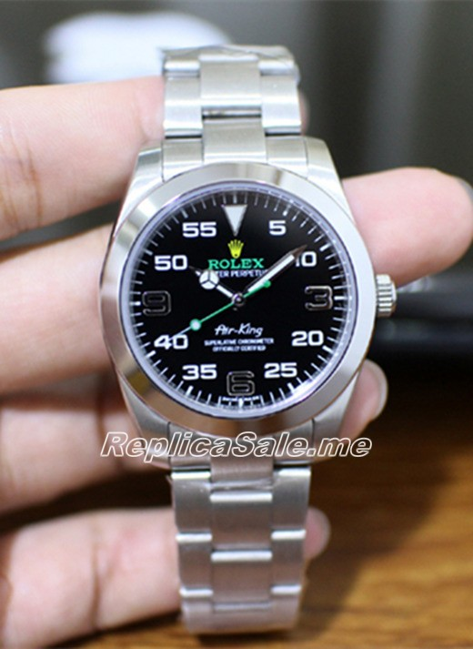 Rolex Air King 116900-71200 Black Dial Silver Starp