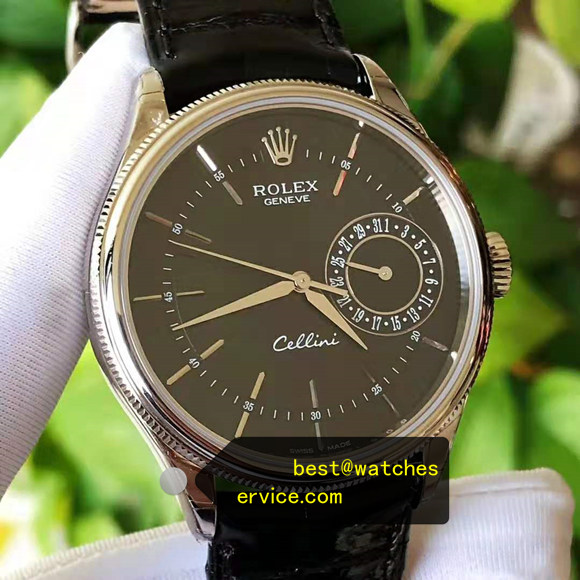 39MM 18k-White-Gold Fake Rolex Cellini m50519 Watch