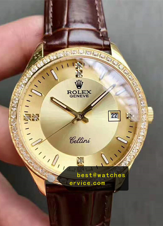 Diamonds Champagne Gold Replica Rolex Cellini Watch