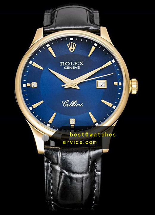 Rose Gold Diamonds Time Scale Blue Face Fake Rolex Cellini Watch