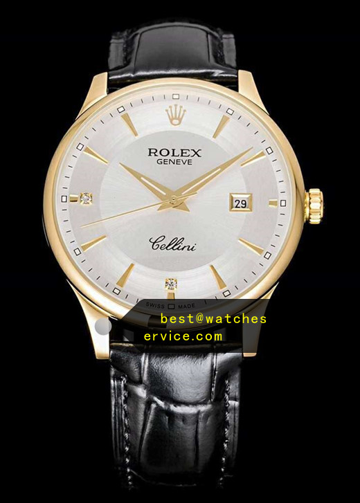 Rose Gold Diamonds Time Scale White Face Fake Rolex Cellini Watch