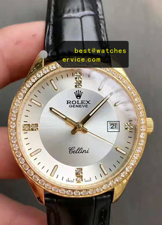 Diamonds White Face Replica Rolex Cellini Watch