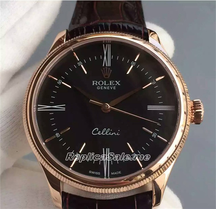 Rolex Cellini 50509 Gold Watch Ring Black Dial 01A