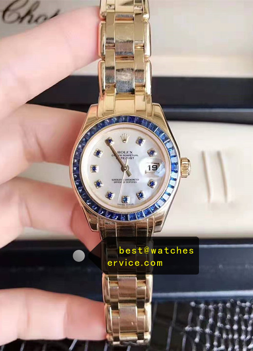 1:1 28mm Blue Diamonds Lady Fake Rolex Datejust Watch