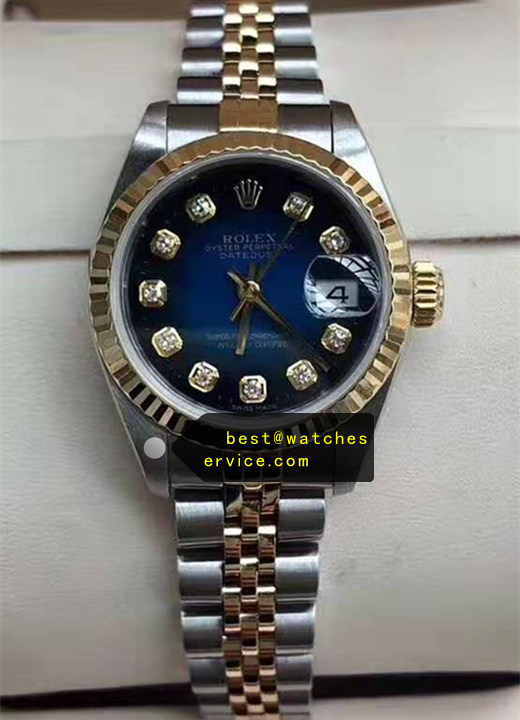 1:1 28mm Blue Face Lady Fake Rolex Datejust Watch