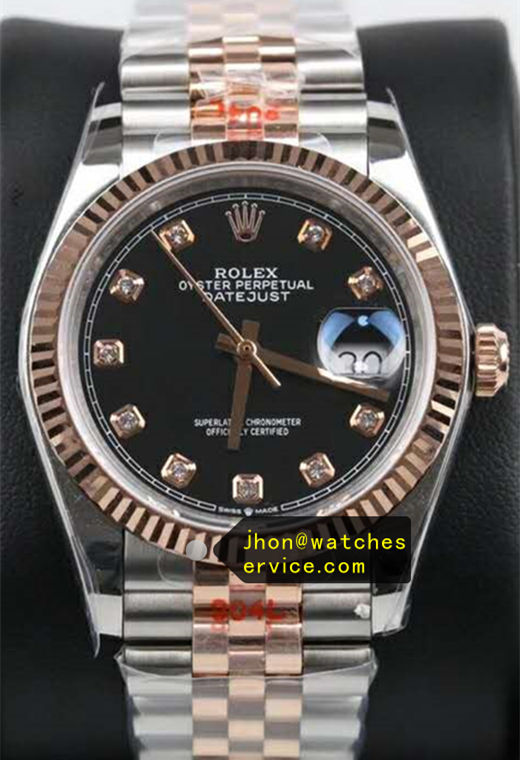 41MM Replica Datejust Black Diamonds Dial Gold Steel