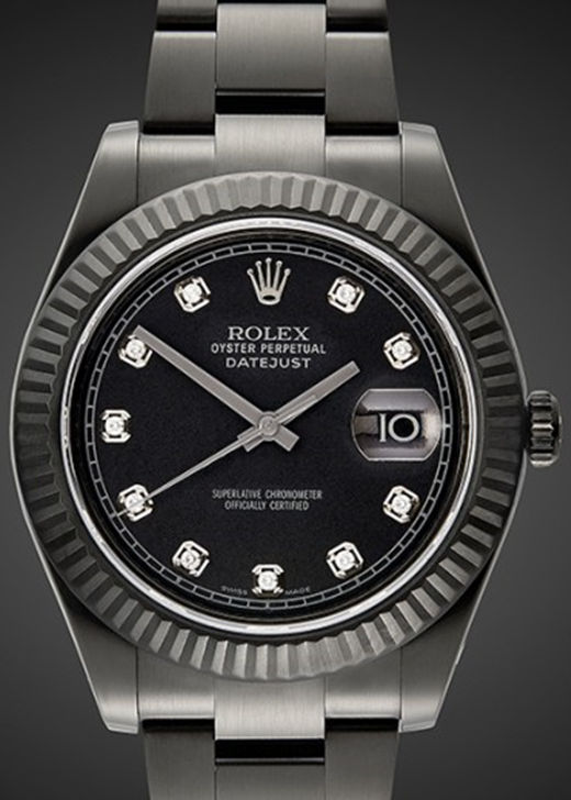All Black PVD Fake Rolex Datejust Diamonds Time-Scale