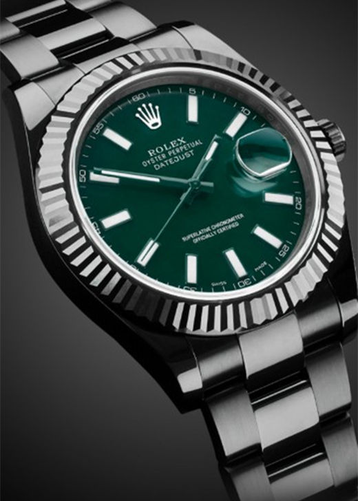 Black PVD Fake Rolex Datejust 116334 Green
