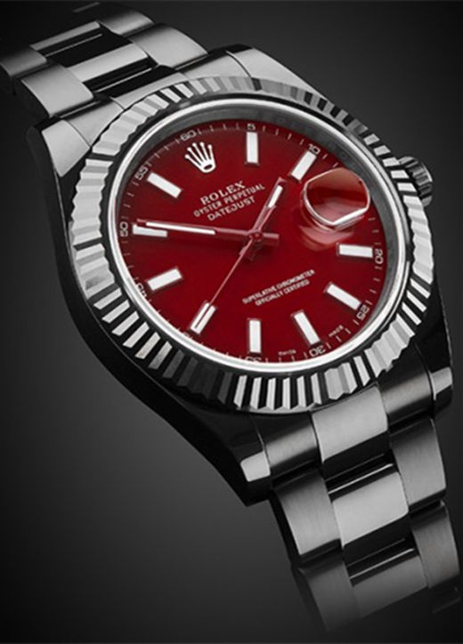 Black PVD Fake Rolex Datejust 116334 Red
