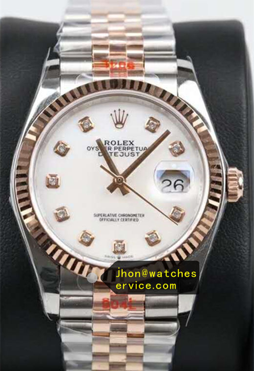 Fake Datejust 36 MM White Face Man Made Diamonds