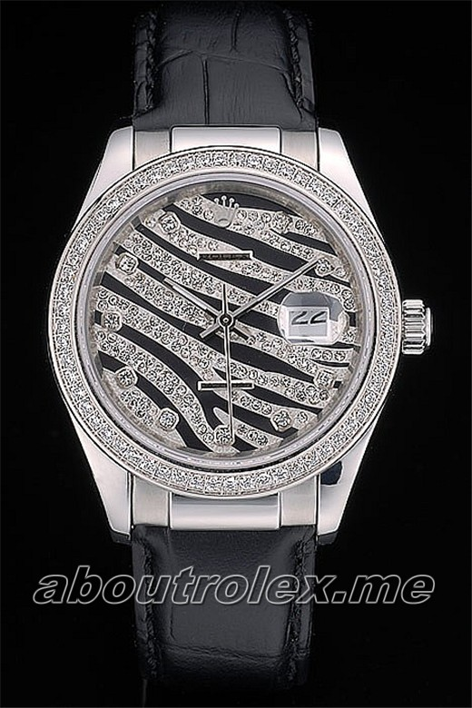 Rolex Datejust Replica Special Edition 2012 Black Leather Strap 52A