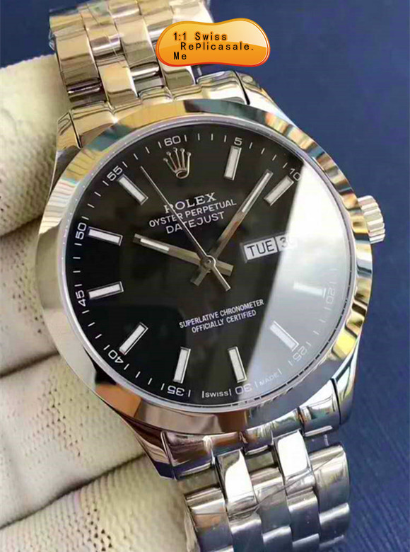Swiss-ETA Rolex Datejust Black Face Using 914L Steel