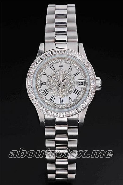 Cheap Rolex Datejust Replica 80298 white plate diamond watch