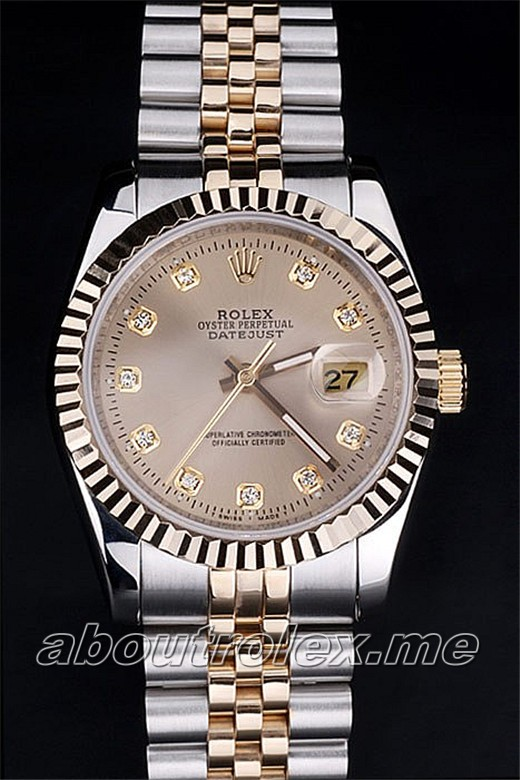 Men's Replica Rolex Datejust 116233 Champagne Diamond Watch