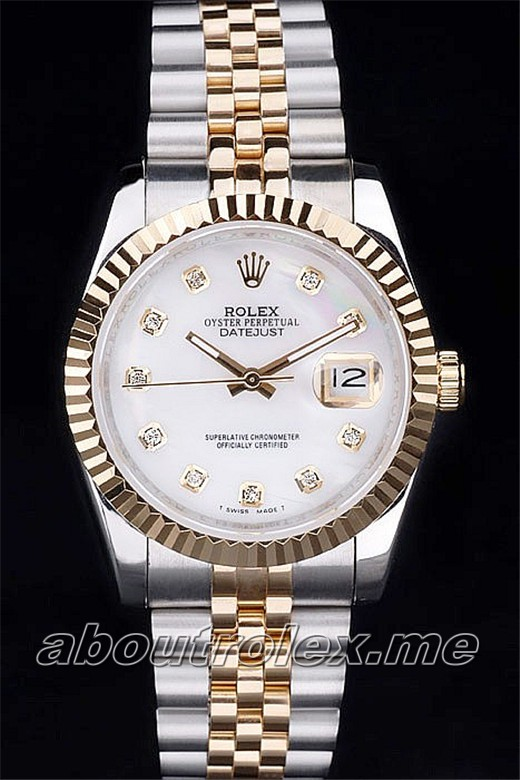 Luxury Men's Rolex Datejust Replica 116233-G-63203 White Plate Watch