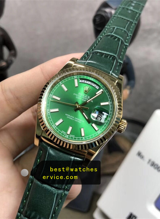 36MM Green Replica Rolex Day Date 118138-LFC Watch