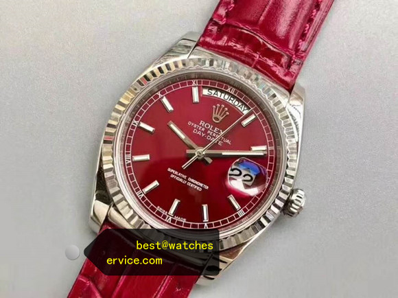 36MM Red Fake Rolex Day Date 118138 Watch