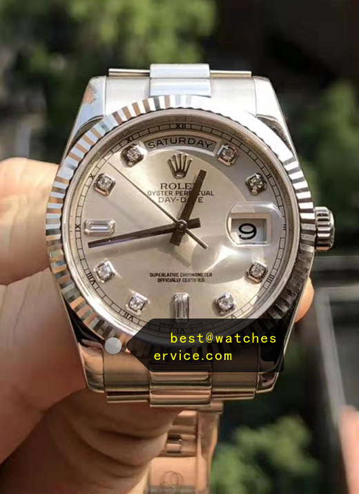 36MM White Gold Replica Rolex Day Date 118239A Watch