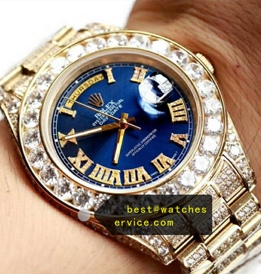 39MM Blue Full Diamonds Fake Rolex Day Date Watch