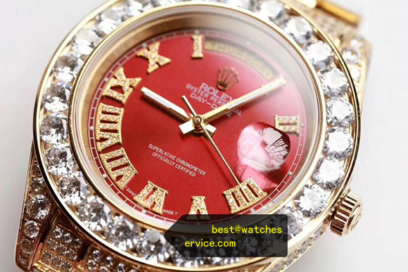 39MM Red Full Diamonds Fake Rolex Day Date Watch