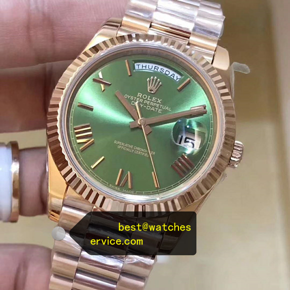 40MM Olive Green Fake Rolex Day Date 228235 Watch