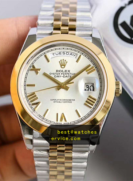 40MM Steel Inlaid Gold Fake Rolex Day Date Watch