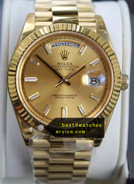 Champagne Face Gold Replica Rolex Day Date 228238 Watch
