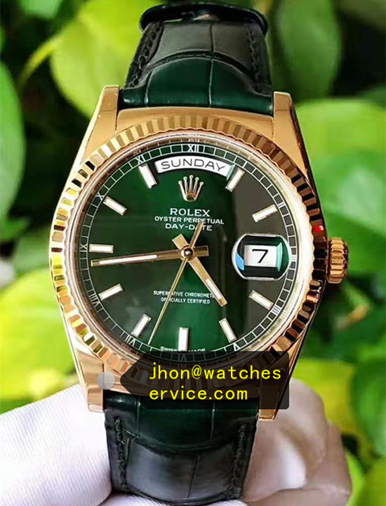 Dark Green Fake Rolex Day Date 118138 Watch