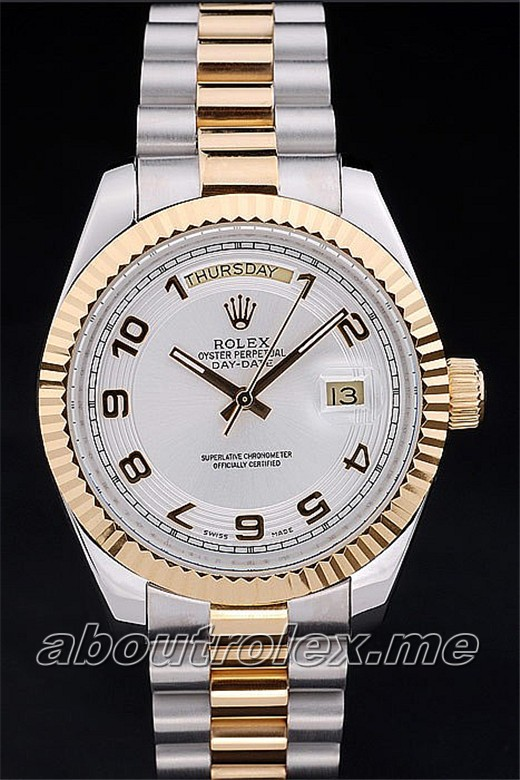 Fake Rolex Day-Date Silver plate and gold bezel 23A