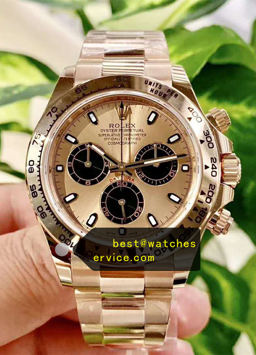 1:1 18k-Gold Fake Rolex Daytona 116508 Black Chronograph Watch