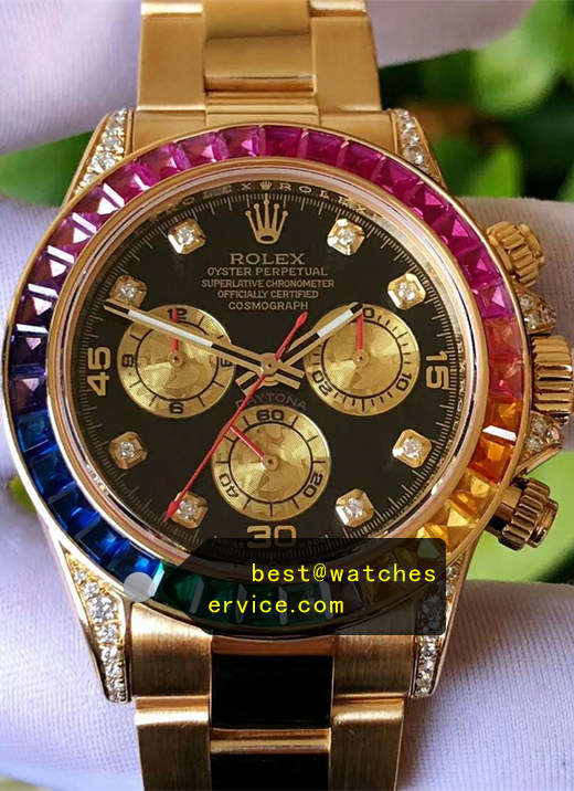 1:1 18k-Gold Synthetic Diamond Fake Rolex Daytona 116598 RBOW Watch