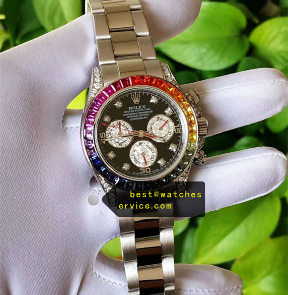 1:1 18k Platinum Rainbow Fake Rolex Daytona 116599 Watch