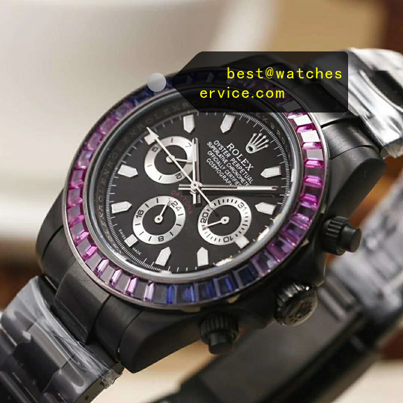 All Black Steel Rainbow Bezel Fake Rolex 24 Daytona Watch