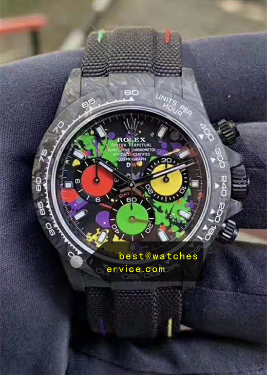 Black Colors Replica Rolex Daytona Fiber Watch