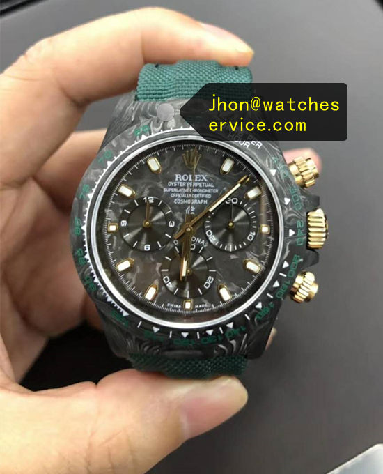 1:1 Carbon Fiber Fake Rolex Daytona Green Strap