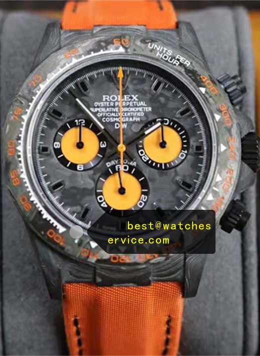1:1 Carbon Fiber Orange Chronograph Replica Rolex Daytona Watch