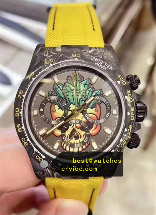 1:1 Carbon Fiber Yellow Nylon Strap Replica Rolex Daytona Watch