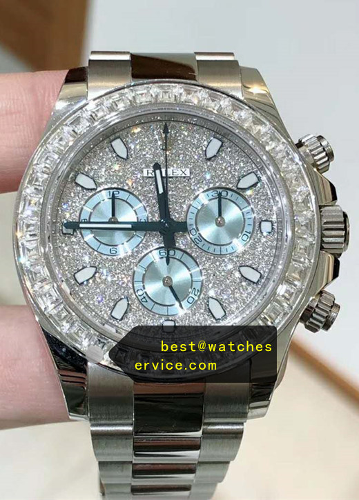 Diamonds Bezel Ice Blue Chronograph Replica Rolex Daytona 116589 Watch