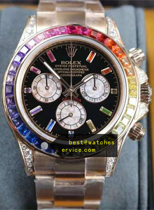 18k-Rose-Gold Rectangle Diamond Time Scale Fake Rolex Daytona 116595 RBOW Watch