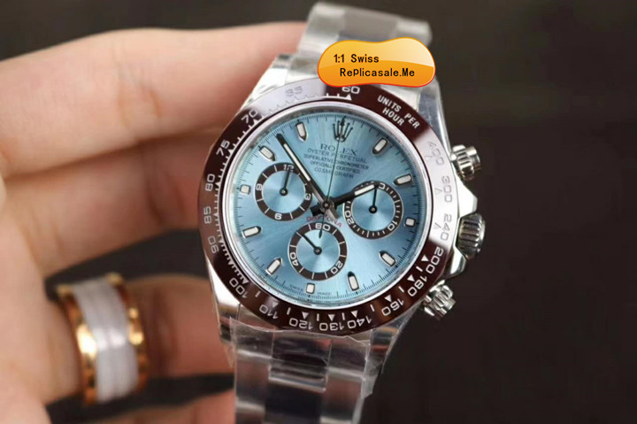 Rolex Daytona 116506 Ice Blue Face Chestnut Ring 950PT